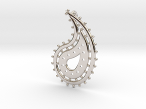 Paisley Pendant 1 in Rhodium Plated Brass