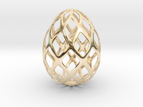 Trellis - Decorative Egg - 2.3 inches in 14K Yellow Gold