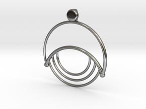 Modern Moon Pendant in Fine Detail Polished Silver