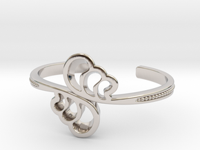Wave Cuff Bracelet in Rhodium Plated Brass
