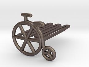 Old bike for beard - front wearing in Polished Bronzed Silver Steel