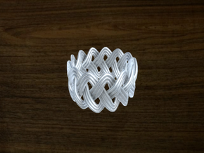 Turk's Head Knot Ring 3 Part X 13 Bight - Size 7 in White Natural Versatile Plastic