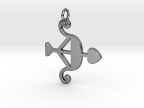 Cupid Bow Pendant - Amour Collection in Polished Silver