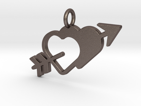 Love Arrow Pendant - Amour Collection in Polished Bronzed Silver Steel