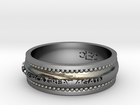 Size 10 Make America Great Again Ring in Fine Detail Polished Silver