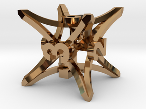 'Radial' D6 balanced gaming die in Polished Brass