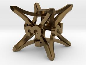 'Radial' D6 balanced gaming die in Polished Bronze