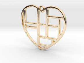 Mondrian Heart in 14K Gold