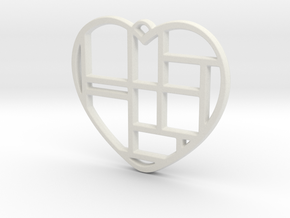 Mondrian Heart in White Natural Versatile Plastic