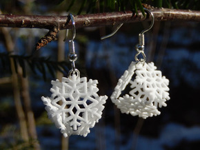 Snowflake Earrings 1 in White Natural Versatile Plastic
