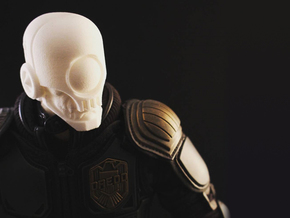 """Skullgrin v2"" custom 1:6th scale head in White Strong & Flexible"