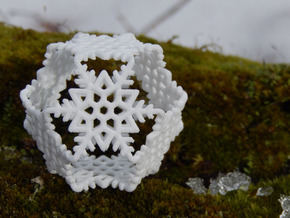Octahedral Snowflakes 2 in White Natural Versatile Plastic