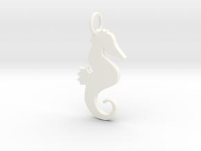 Seahorse pendant in White Processed Versatile Plastic