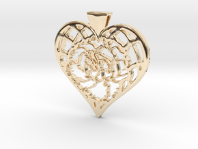Birth Flower Heart Pendant: January Carnation in 14K Yellow Gold