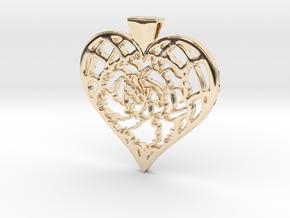 Birth Flower Heart Pendant: January Carnation in 14k Gold Plated Brass