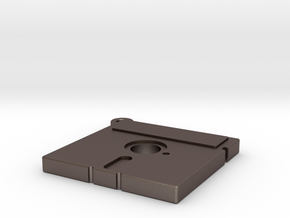 5.25 inch Floppy Pendant in Polished Bronzed Silver Steel