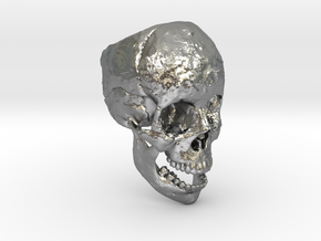 Human Skull Ring Open Jaw (size 8.5 - 9) in Natural Silver