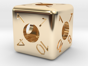 Average D6 Hollow Dice in 14k Gold Plated Brass