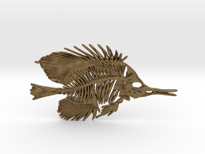 Butterfly Fish Skeleton Pendant in Natural Bronze