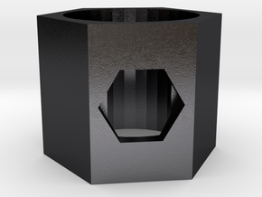 GEMELA Hexagon Ring in Polished and Bronzed Black Steel