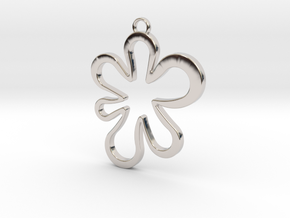 Flower Pendant in Rhodium Plated Brass