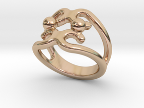 Two Bubbles Ring 14 - Italian Size 14 in 14k Rose Gold Plated Brass