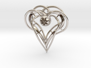 sisters Pendant (semi-precious metal) in Rhodium Plated Brass