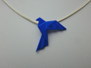 Origami Bird Pendant in Blue Processed Versatile Plastic