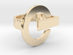 Power Button Ring - 20 mm in 14K Yellow Gold