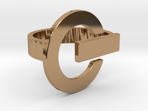 Power Button Ring - 20 mm in Polished Brass