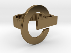 Power Button Ring - 20 mm in Polished Bronze