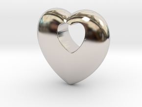 Heart 4 you in Rhodium Plated Brass