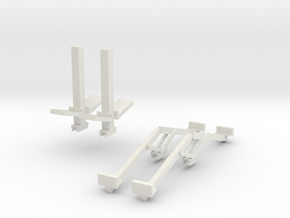 1/64 Double Header Trailer- Header Stands in White Natural Versatile Plastic
