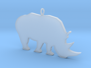 Rhino Silhouette Pendant in Smooth Fine Detail Plastic