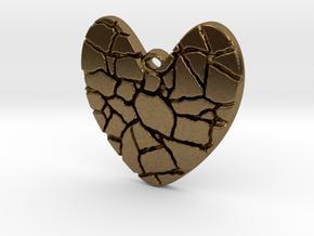 Broken heart pendant in Natural Bronze