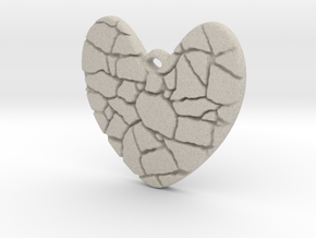 Broken heart pendant in Natural Sandstone