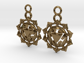 Chakra Manipura Earrings in Polished Bronze