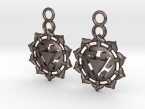 Chakra Manipura Earrings in Polished Bronzed Silver Steel
