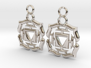 Chakra Muladhara Root Earrings in Rhodium Plated Brass