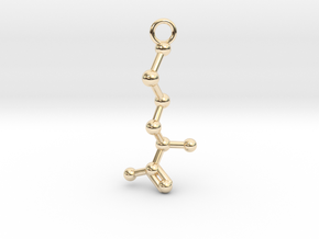 D-Methionine Molecule Necklace Earring in 14K Yellow Gold
