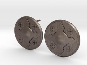 Wotan Cross Earring in Polished Bronzed Silver Steel