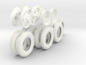 1-18 GMC 750x20 Complete Set in White Processed Versatile Plastic