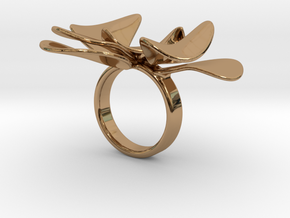 Petals ring - 20 mm in Polished Brass