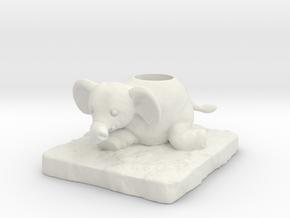Elephant in White Natural Versatile Plastic