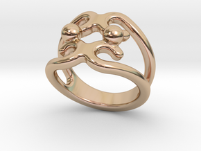 Two Bubbles Ring 15 - Italian Size 15 in 14k Rose Gold Plated Brass
