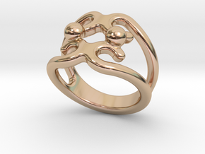 Two Bubbles Ring 16 - Italian Size 16 in 14k Rose Gold Plated Brass