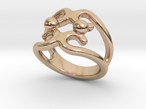 Two Bubbles Ring 17 - Italian Size 17 in 14k Rose Gold Plated Brass