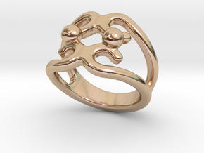 Two Bubbles Ring 23 - Italian Size 23 in 14k Rose Gold Plated Brass