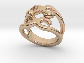 Two Bubbles Ring 29 - Italian Size 29 in 14k Rose Gold Plated Brass