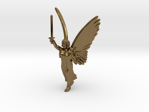 32mm Angel with sword in Polished Bronze